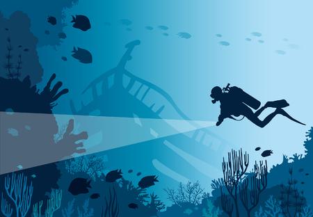 Silhouette di scuba diver con lanterna e barriera corallina con pesci su un mare blu. Illustrazione di natura vettoriale. Vita sottomarina marina.