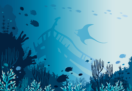 Beautiful coral reef with school of fishes, sunken ship and silhouette of manta on a blue sea background. Vector nature illustration - underwater seascape and marine life. Illustration