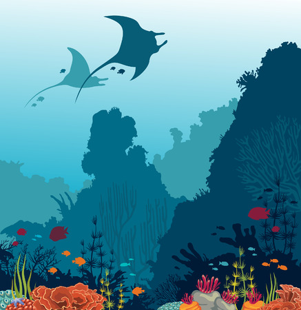 Silhouette of two mantas, coral reef and fishes on a blue sea background. Underwater marine life. Vector illustration.