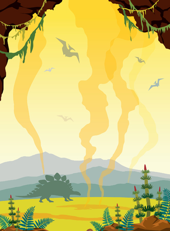 Prehistoric nature landscape - silhouette of dinosaurs, green plants, cave and gaysers on a yellow sky. Vector illustration with extinct animals.