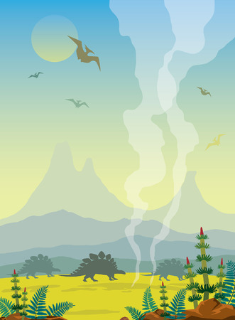 Prehistoric landscape with silhouette of dinosaurs (pterodactyl and brontosurus), volcano, mountains and smoked geyser. Vector illustration of extinct animals. Wild nature.