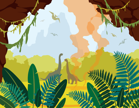 Prehistoric nature. Cartoon landscape with green plants, cave, silhouette of dinosaurs and active gayser. Vector illustration with extinct animals.