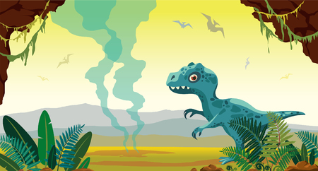 Cartoon blue tyrannosaur, green fern, stone cave and active gaysers on a yellow sky. Prehistoric landscape with dinosaurs. Vector illustration with extinct animals.