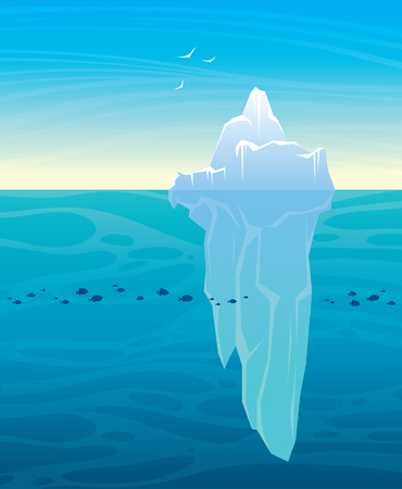 Big iceberg, blue sea with school og fishes and white birds on a morning sky. Vector nature illustration. Ilustração