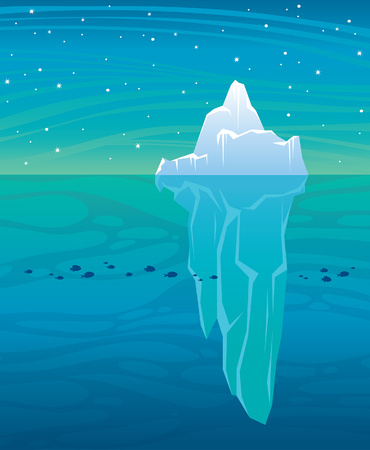 Vector illustration  with big blue iceberg, ocean and starry night sky. Wild landscape.