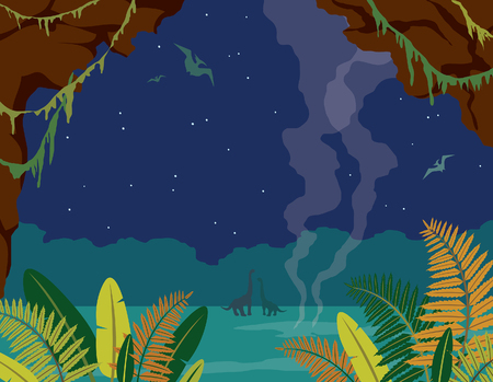 Nature landscape with silhouette of dinos (diplodocus and pterodactyl), green ferns, cave abd night blue sky. Vector illustration with prehistoric wildlife. Image with extinct animals.