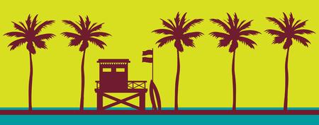 Rettungsschwimmerstation an einem Strand mit Palme auf einem Sonnenuntergangshimmel. Vektorillustration mit tropischer Landschaft. Sommerkarte.