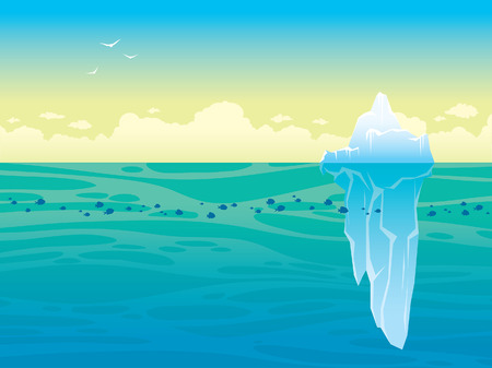 Nature vector landscape - blue sea with school of fishes and big iceberg on a sky. Illustration