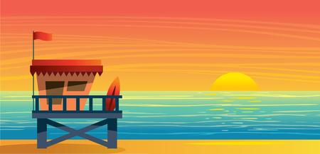 Summer nature landscape with lifeguard station, blue sea and sun on a sunset sky. Vecor illustration. Ilustração Vetorial