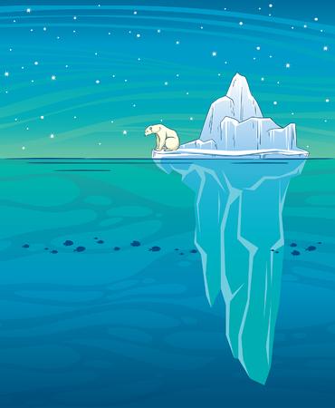 Vector illustration  with big blue iceberg, polar bear, ocean and starry night sky. Wild landscape. Arctic animal.