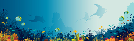 Silhouette of mantas, coral reef and fishes on a blue sea background. Underwater marine life. Vector panoramic illustration.