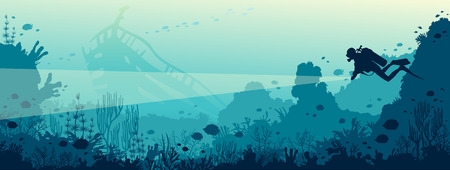 Silhouette of scuba diver with lantern and coral reef with fishes on a blue sea. Vector nature illustration. Marine underwater life. Wreck diving.