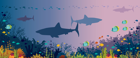 Silhouette of big sharks, beautiful coral reef and tropical fishes in a sea background. Underwater nature and marine wildlife.