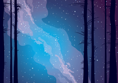 Silhouette of trees on a night sky with milky way and stars. Vector illustration.