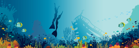 Underwater panoramic marine wildlife. nature illustration. Silhouette of two free divers and coral reef with fishes on a blue sea.