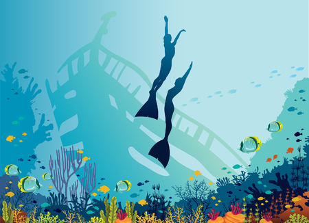 Sihouette of two freedivers, coral reef, fishes and old wreck on a blue sea background. Underwater marine wildlife. Vector nature illustration. Underwater sport - free diving. Illustration