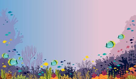 Illustration vectorielle avec récif de corail et poissons tropicaux sur fond de mer. Nature sous-marine et faune marine.