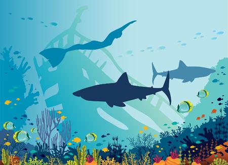 Silueta de grandes tiburones, apneístas, arrecifes de coral y peces tropicales en un fondo azul del mar. Ilustración vectorial. Naturaleza submarina y fauna marina. Deporte acuático - buceo libre.