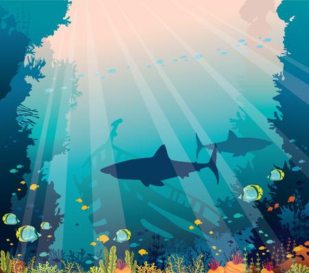 수중 자연과 해양 야생 동물. 푸른 바다 배경에 상어, 침몰한 배, 열대어 떼, 산호초의 실루엣. 벡터 (일러스트)