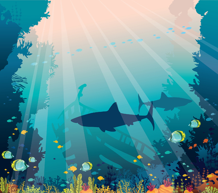 Underwater nature and marine wildlife. Silhouette of sharks, sunken ship, school of tropical fishes and coral reef on a blue sea background.