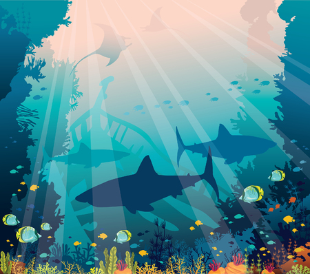 Silhouette of sharks, mantas, tropical fishes, sunken boat and coral reef on a sea background. Underwater nature and marine wildlife. Vector ocean illustration.
