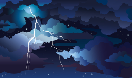 Vector night sky with blue dark clouds, stars and lightning. Nature illustration with summer storm.