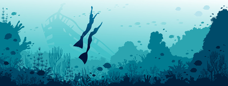 Silhouette of two freedivers, coral reef, fishes and sunken ship on a blue sea background. Vector illustration with marine wildlife. Underwater panoramic seascape image. Illustration