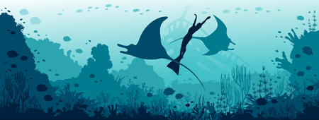 Silhouette of two mantas, diver  in monofin and coral reef on a blue sea background. Illustration