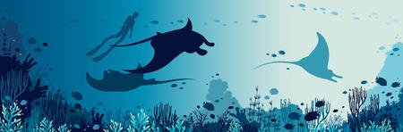 Silhouette des Freitauchers und der drei Mantas, die nahe dem Korallenriff und den Fischen schwimmen. Unterwasser Meerestiere. Vektor-Seeillustration.