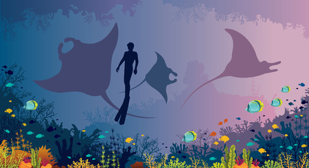 Underwater marine wildlife - silhouette of mantas and freediver on a sea background. Vector illustration with colorful coral reef and fishes. Natural underwater seascape. Illustration