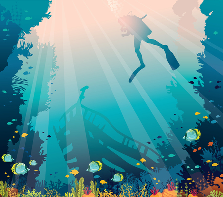 Silhouette of scuba diver, sunken ship and coral reef with fishes on a blue sea. Vector nature illustration. Marine underwater wildlife. Иллюстрация