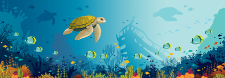 Underwater panoramic marine wildlife. nature illustration. Cartoon turtles, coral reef with fishes and silhouette of sunken ship on a blue sea.