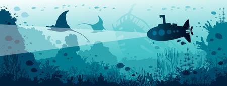 Unterwasser Panorama Meerestiere. Schattenbild des U-Bootes, das nahe den Mantas, dem Korallenriff und den Fischen schwimmt. Natürliche Vektorillustration und Unterwasserleben.