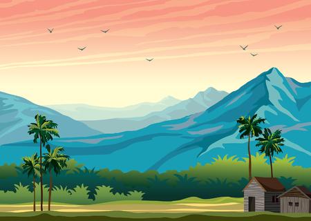 Paisaje de naturaleza tropical con ilustración de verano de palmeras.