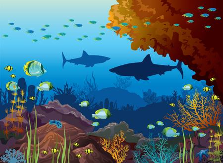 Naturaleza submarina y fauna marina. Silueta de tiburones, escuela de peces tropicales y arrecifes de coral sobre un fondo azul del mar.