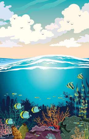Bunte Kumuluswolken und korallenrote Himmelsmeerblickillustration. Unterwasser-Meerestiere. Vektorgrafik