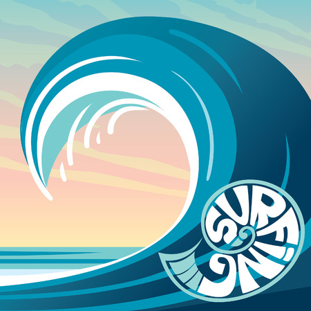 illustration with big blue wave on a sunset sky and surfing. Tropical nature and water sport - surfing.