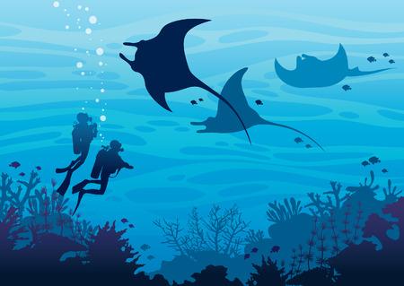 Silueta de dos buzos y tres mantas nadando cerca del arrecife de coral y peces en un mar azul. Fauna marina tropical subacuática. Ilustración de vector de mar. Deporte acuático. Ilustración de vector