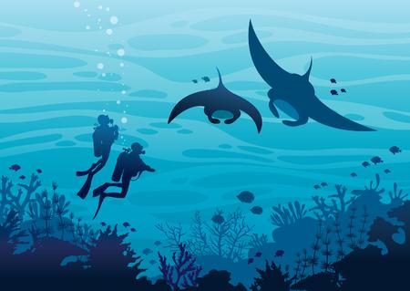 수중 열대 해양 야생 동물. 스쿠버 다이버와 산호초 근처에서 수영하는 두 마리의 만타와 푸른 바다에서 물고기의 실루엣. 벡터 바다 그림입니다. 수상 스포츠.