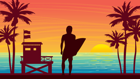 Nature landscape with silhouette of surfer, lifeguard station and palm tree on a sunset sky. Vector summer illustration. Water sport - surfing. 일러스트
