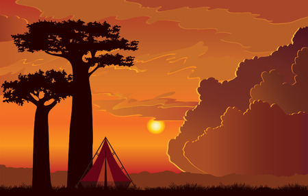 Silhouette of two baobab trees and red backpacking tent on a sunset cloudy sky background. Summer camp.