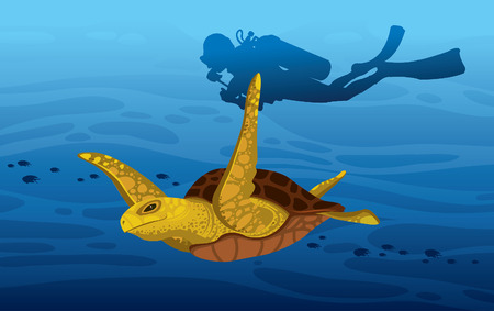 tropical illustration with underwater marine wildlife and water sport. Cartoon sea turtle and silhouette of scuba diver on a blue ocean background.