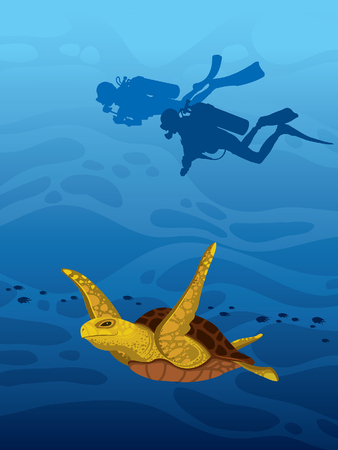 Cartoon sea turtle and silhouette of two scuba divers on a deep blue ocean background. tropical illustration with underwater marine wildlife. Underwater nature and water sport.