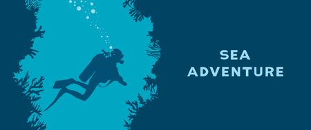 Karta z sylwetką płetwonurka, podwodną jaskinią i rafą koralową. ilustracja natura z tekstem - przygoda morska. Sport wodny.