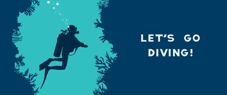Karte mit Silhouette des Tauchers schwimmt in der Unterwasserhöhle nahe dem Korallenriff. Vektornaturillustration mit Text - Lass uns tauchen gehen! Wassersport.
