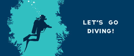 Card with silhouette of scuba diver swims in the underwater cave near the coral reef. Vector nature illustration with text - Let's go diving! Water sport.