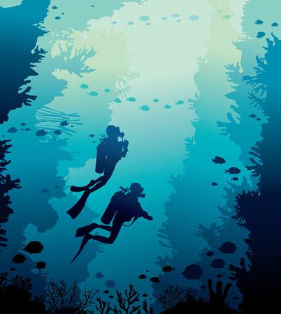 Nature sous-marine avec récif de corail, banc de poissons et silhouette de deux plongeurs sur fond bleu de la mer. Illustration vectorielle avec la faune marine. Vecteurs