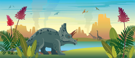 Wild nature with dinosaurs, green ferns, lake and mountains. Prehistoric illustration with extinct animals and plants. nature landscape with triceratops, diplodocus and pterodactyls.