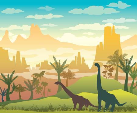 Silueta de dinosaurios, pasto verde, plantas y montañas en un cielo nublado azul. Ilustración prehistórica con animales extintos. Ilustración de vector