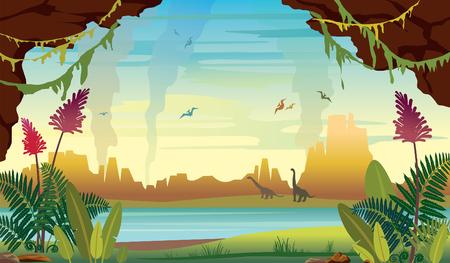Ilustración prehistórica con plantas y animales extintos.